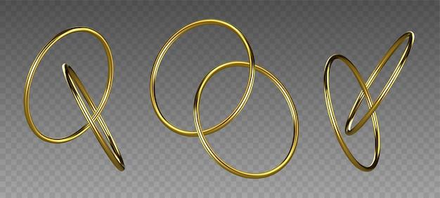 Золотые кольца, изолированные на прозрачном фоне. золотой декоративный