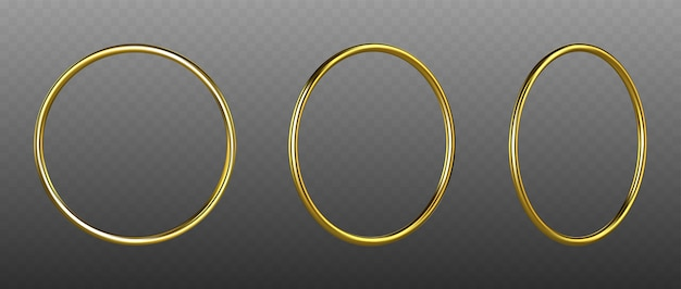 Golden rings isolated on transparent background. golden decorative