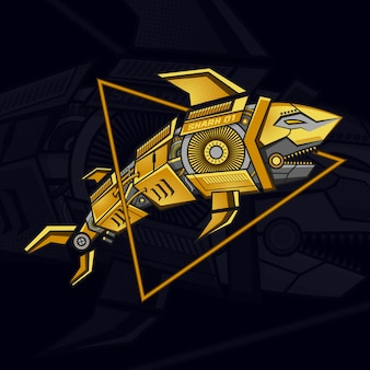 Golden robot shark steampunk illustration
