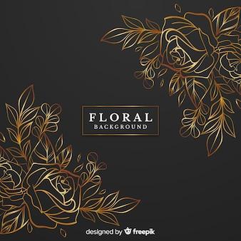Golden rose floral background