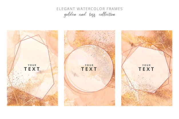 Golden and rose watercolor frames