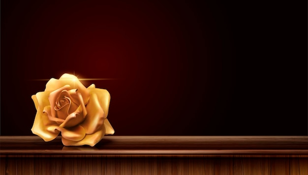 Golden rose on wood table background in 3d illustration