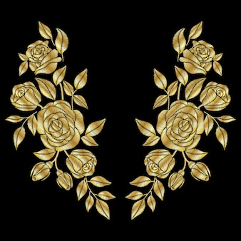 Golden roses embroidery neck line.