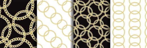 ゴールデンラウンドチェーンファッションシームレスパターンセット
