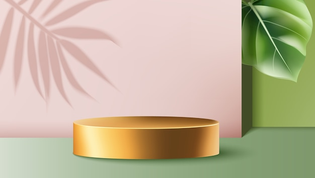 Golden round container surrounded by pink and green walls with exotic leaves
