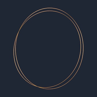 Golden round frame template vector