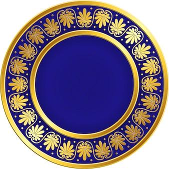 Golden round frame with greek meander pattern