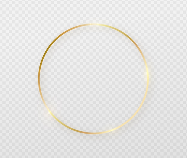 Golden round frame with light effects.