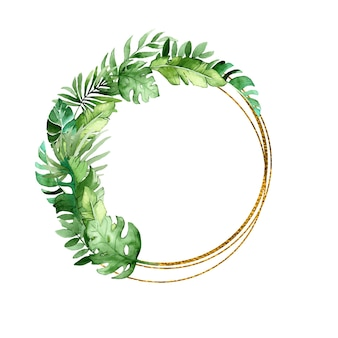 Golden round frame with tropical leaves