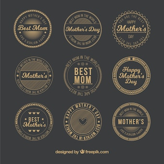 Golden round mothers day labels