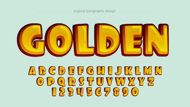 황금 둥근 만화 타이포그래피