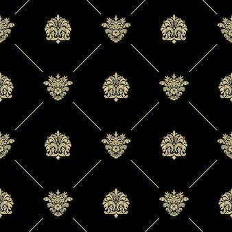 ゴールデンロイヤルバロックヴィンテージシームレスパターン。線と花の黒い壁紙