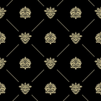 Golden royal baroque vintage seamless pattern. black wallpaper with lines and flowers