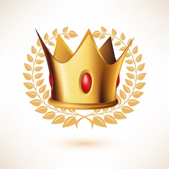 Golden royal crown with laurel wreath isolated on white