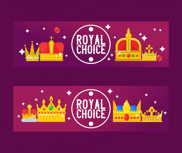 Golden royal crowns vector illustration. luxury royal design banners.