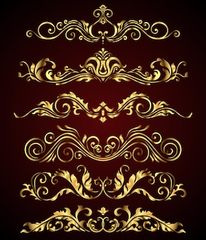 Golden royal floral swirl elements and borders set