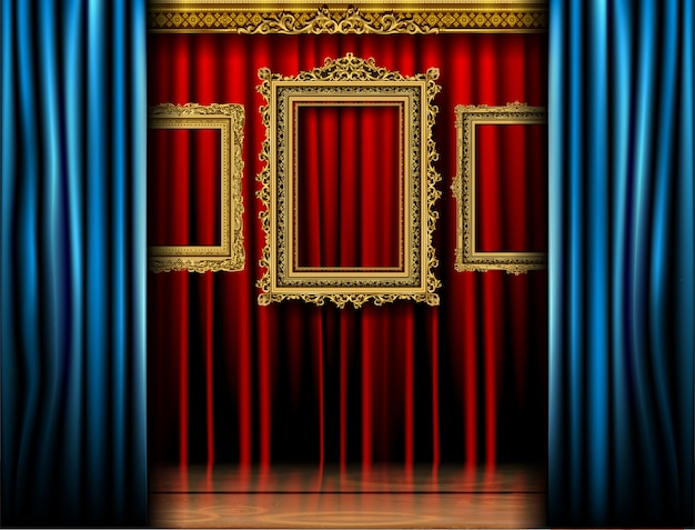 Golden royal frame on red curtain cenima product