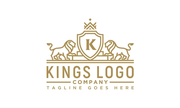 Golden royal lion king logo design