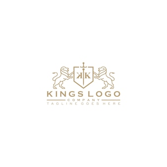 Golden royal lion king logo