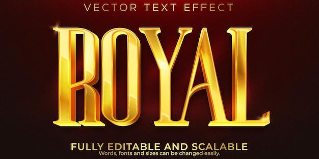 Золотой королевский текстовый эффект, редактируемая роскошь и элегантный стиль текста