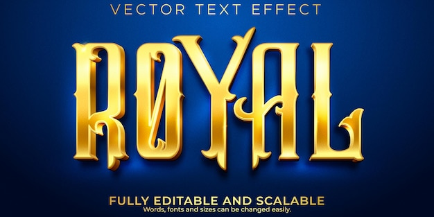 Золотой королевский текстовый эффект, редактируемый блестящий и элегантный стиль текста