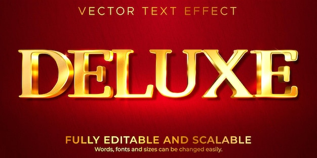 Golden royal text effect, editable shiny and rich text style Free Vector