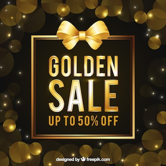 Golden sale background with circles