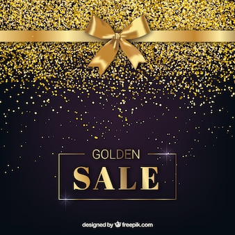 Golden sale background with ribbon