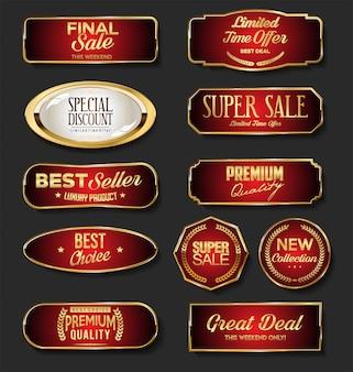 Golden sale badge collection on black background
