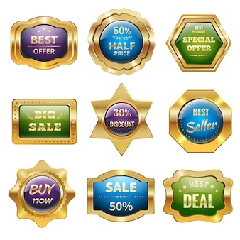 Golden sale badges