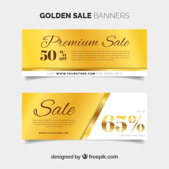 Golden sale banners