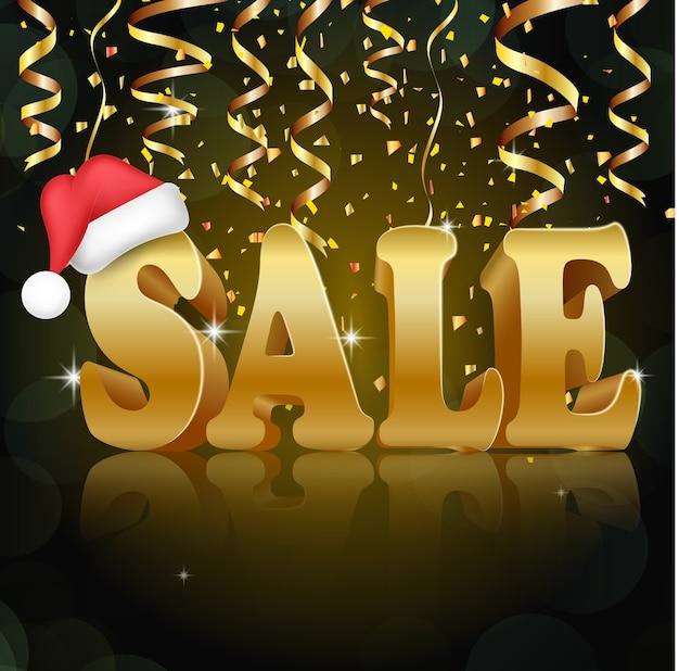 Golden sale on the black background