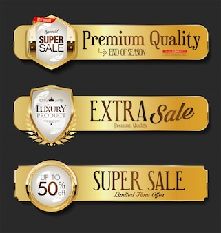 Golden sale labels collection on black background