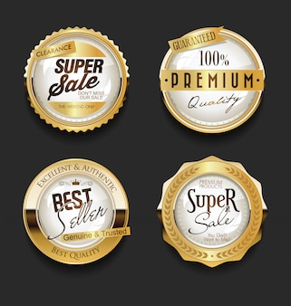 Golden sale labels retro vintage  collection