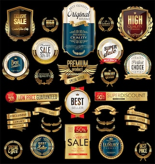 Golden sale labels retro vintage design