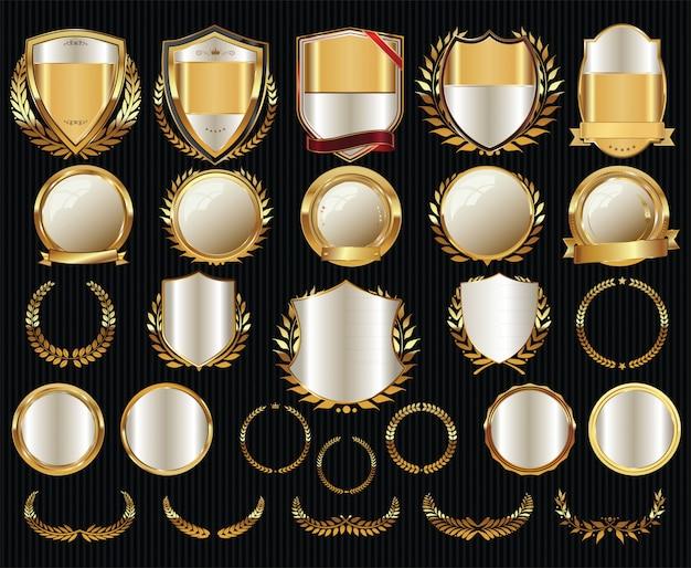 Golden sale shields laurel wreaths and badges