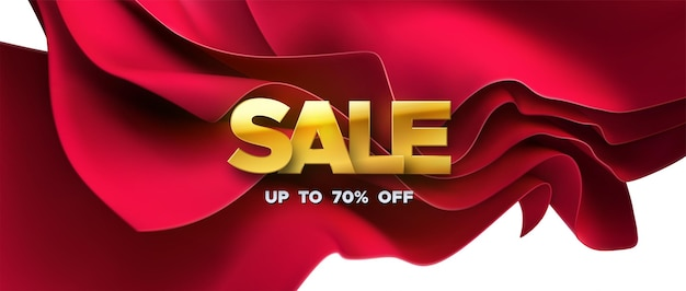 Golden sale sign with red streaming fabric