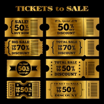 Golden sale tickets vector set. vector tickets to sale