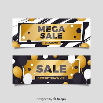 Golden sales banner flat style