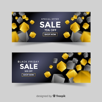 Golden sales banner template with geometric shapes