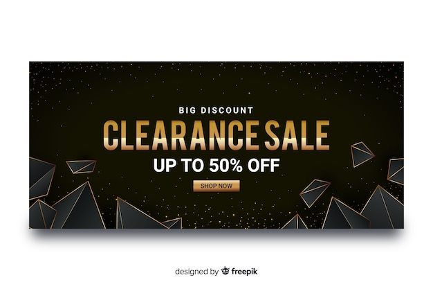 Golden sales banners with geometric shapes