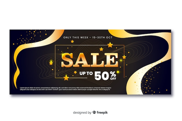 Golden sales banners with wave lines