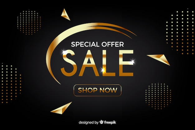 Golden sales promotional banner template