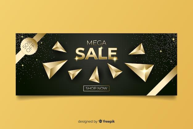 Golden sales promotional banner template