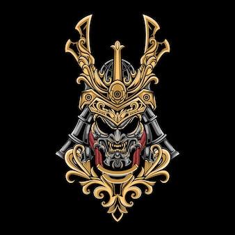 Golden samurai whit oni mask head vector illustration