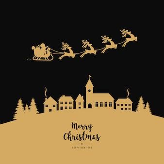 Golden santa sleigh flying winter village christmas night