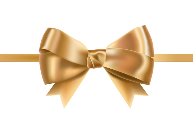 Golden satin ribbons decorated with bow.