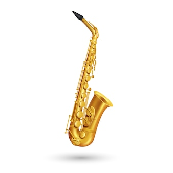 Golden saxophone on white background in cartoon style