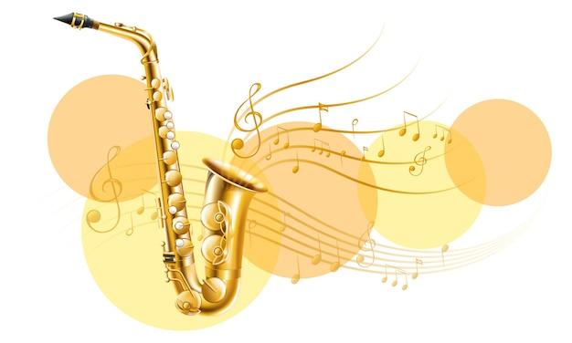 Sassofono dorato con note musicali