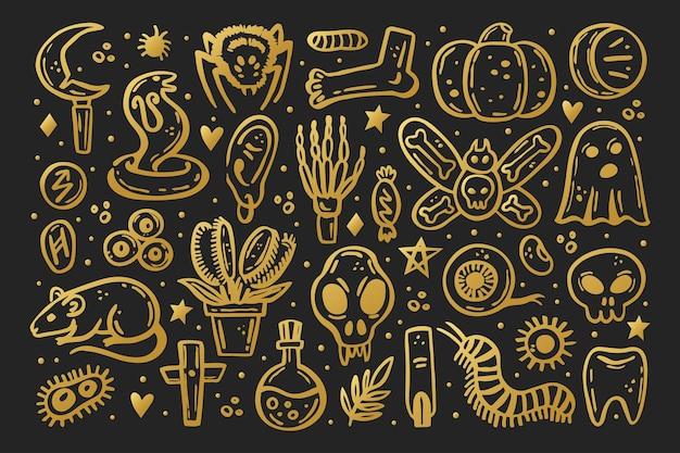Золотые страшные чернила вектор хэллоуин иллюстрация череп друид нож насекомое призрак крыса ядовитый глаз